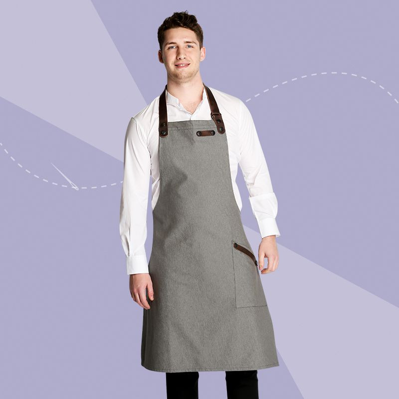 Oliver Harvey Bib Apron with Leather Detailing