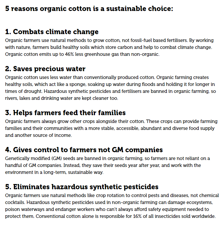 Soil Association Organic Cotton Benefits